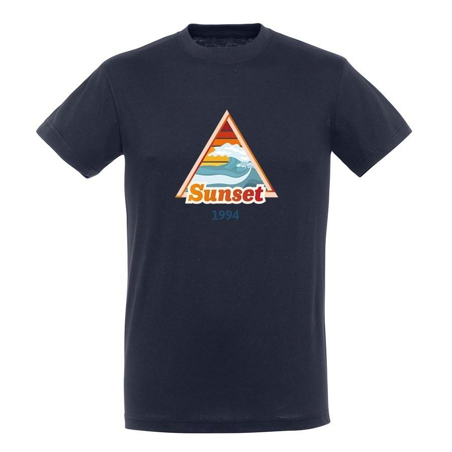 T-paita omalla painatuksella - Miehet - Sininen - M