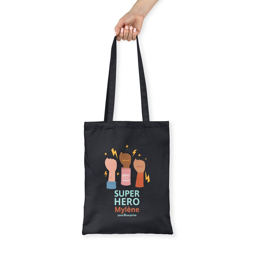 Tote bag Super-héros en coton - noir