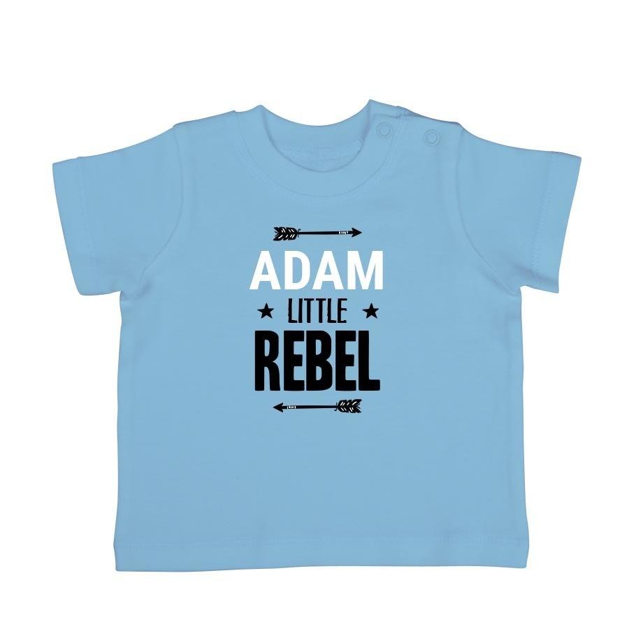 Babyskjorta med tryck - kort ärm - babyblå - 50/56