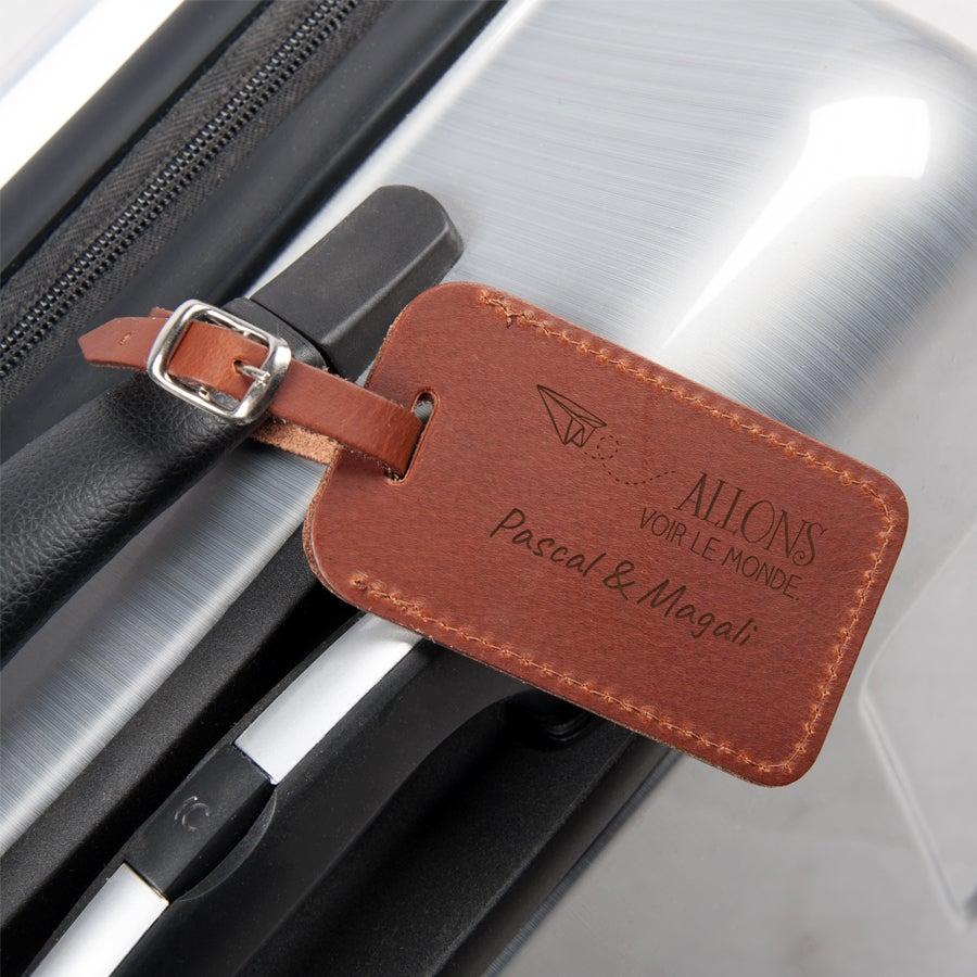 Porte étiquette bagage personnalisée - cuir - marron