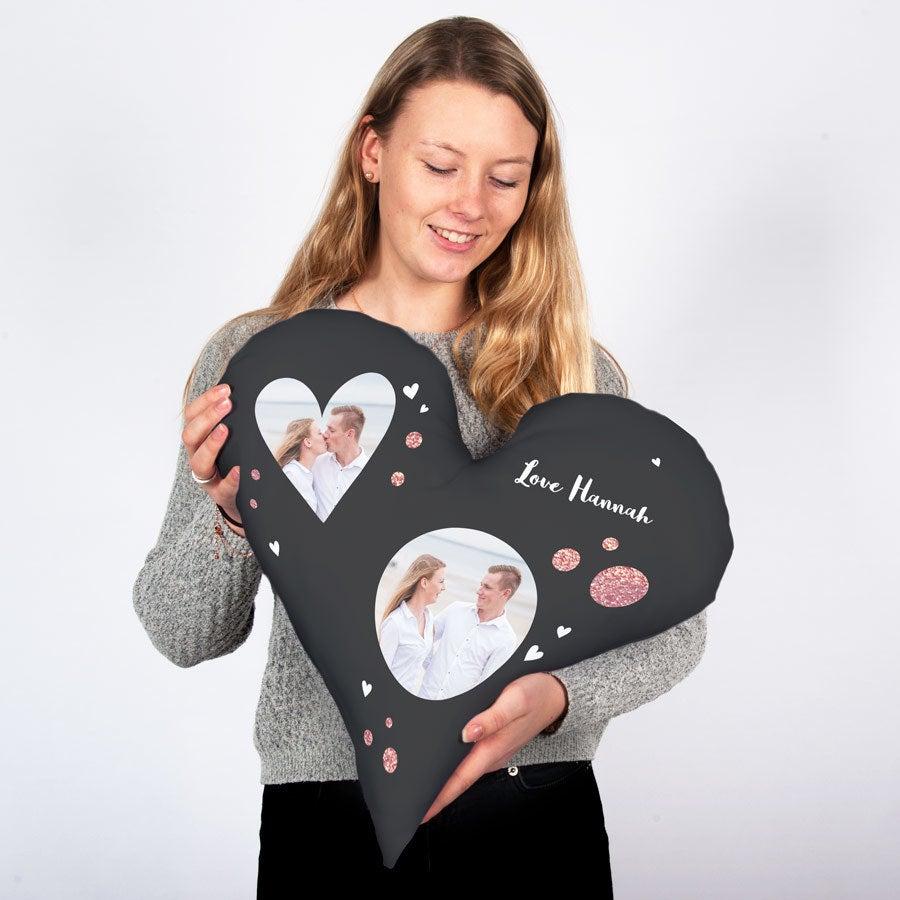Teljesen nyomtatott fotó párna - szív - pamut (60 x 60)