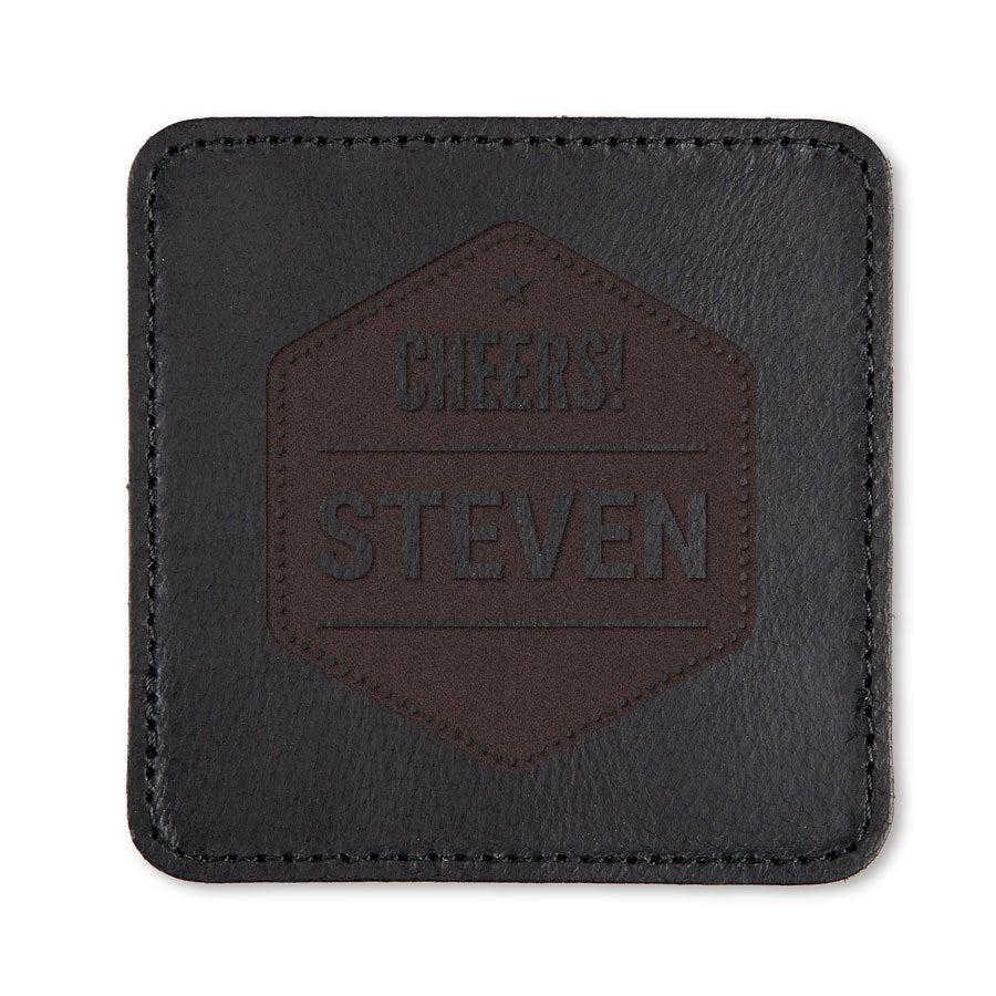 Posavasos de cuero personalizados - Negro - 2 piezas