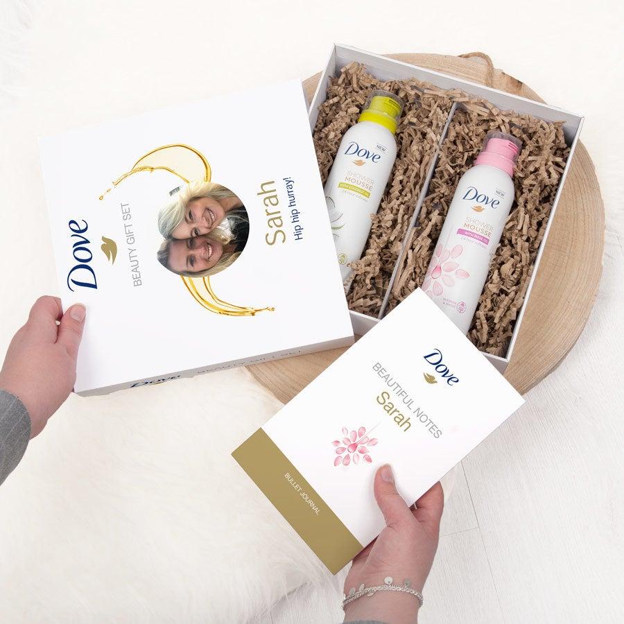 Dove - Személyre szabott zuhanyzó és golyónapló ajándékkészlet