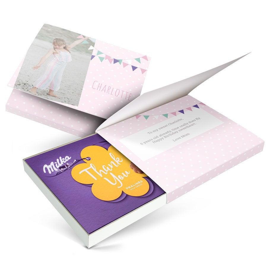 Chocobox - eu amo Milka! - Aniversário - Flor 110 gramas