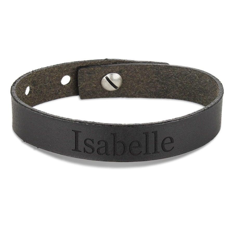 Bracelet prénom femme - cuir noir