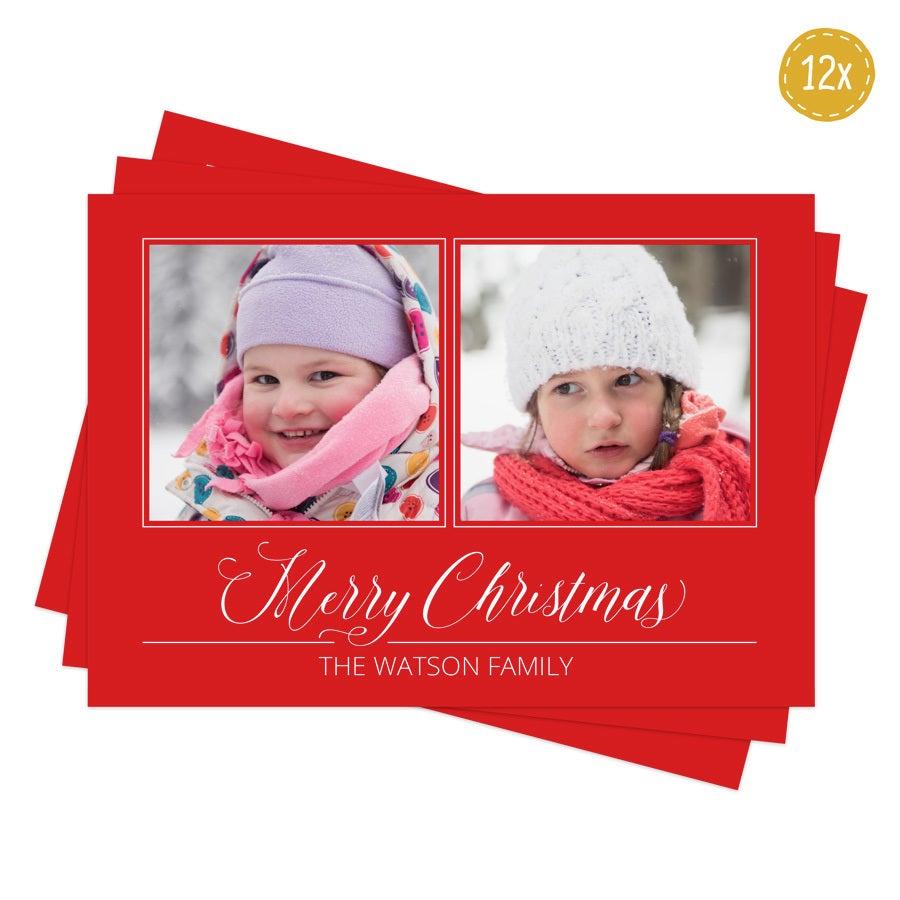 Julekort med foto - 12 postkort-stil kort