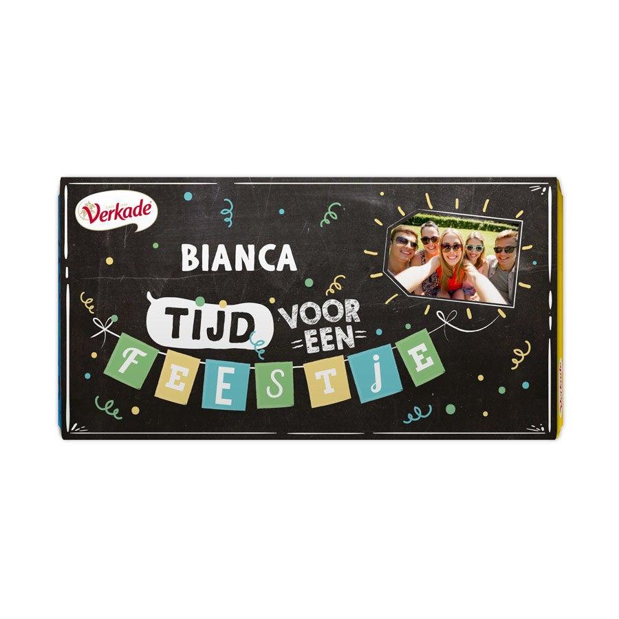 Verkade chocoladereep bedrukken - Feestje (Melk)