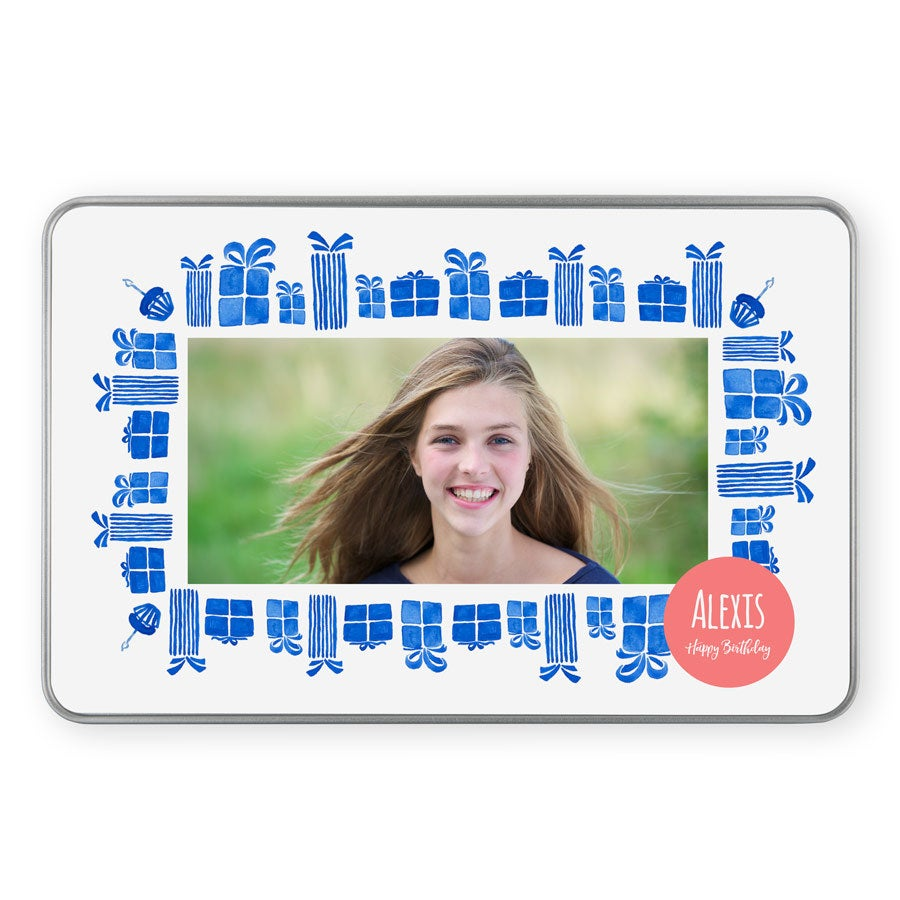 Personalised photo tin - rectangular