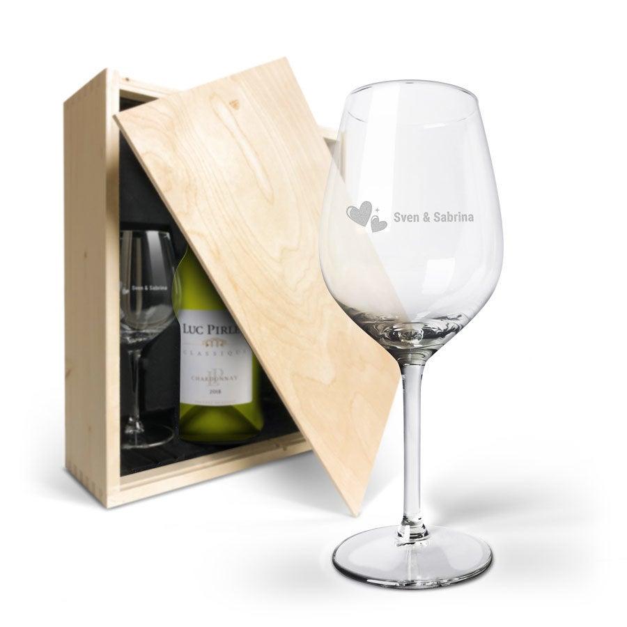 Wijnpakket met wijnglazen - Luc Pirlet Chardonnay - Gegraveerde glazen