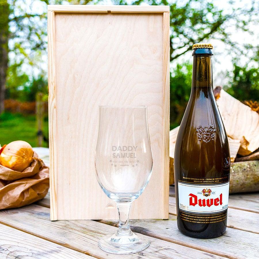 Confezione regalo birra per la Festa del Papà con bicchiere inciso - Duvel