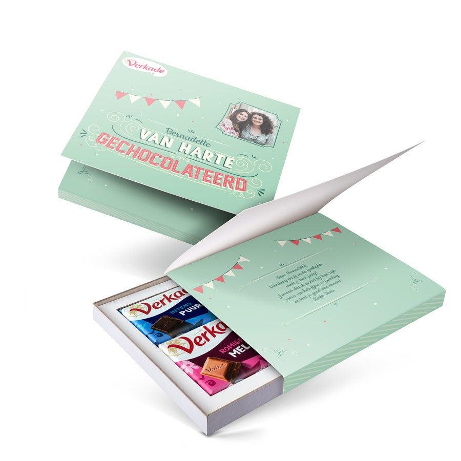 Verkade giftbox bedrukken - Van harte gechocolateerd (2 repen)