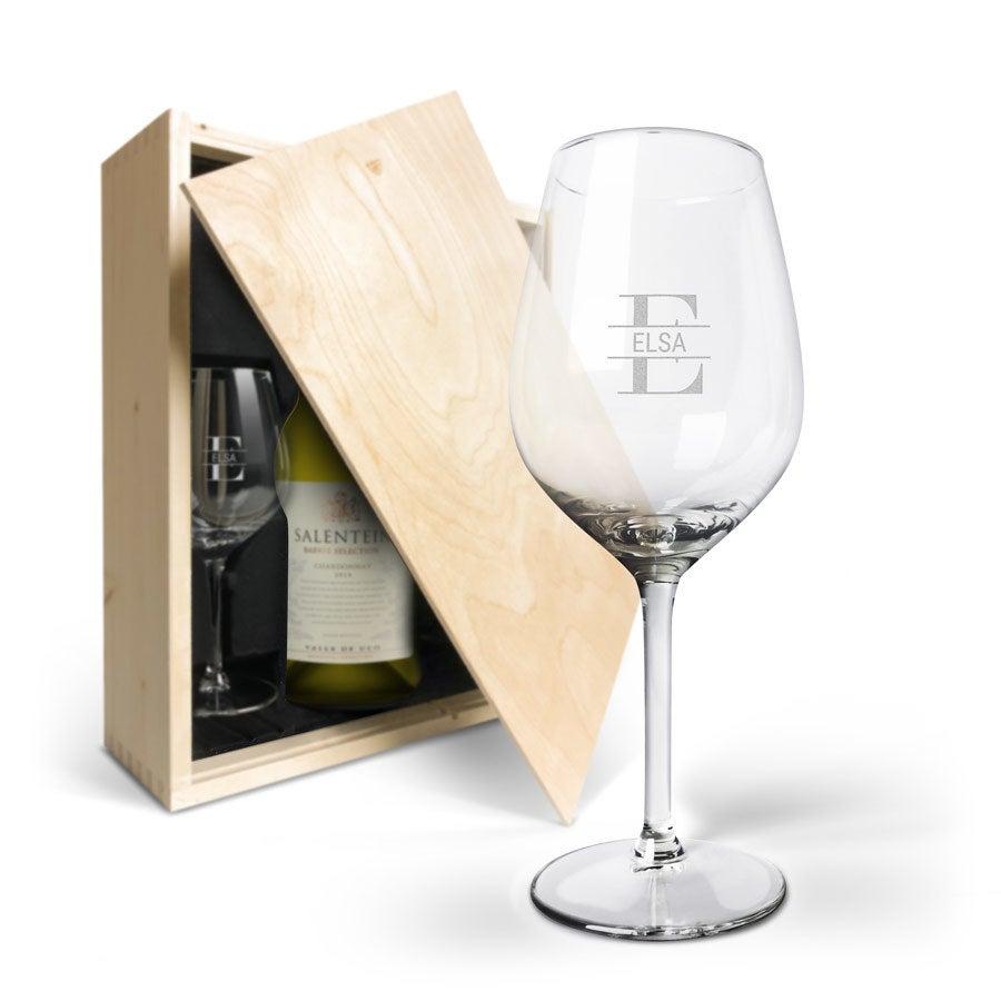 Coffret à vin avec 2 verres gravés - Salentein Chardonnay