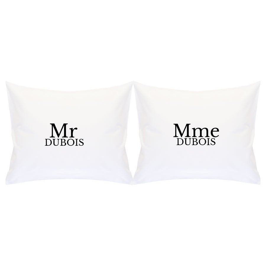 Set coussins Mr & Mrs -  Deux taies