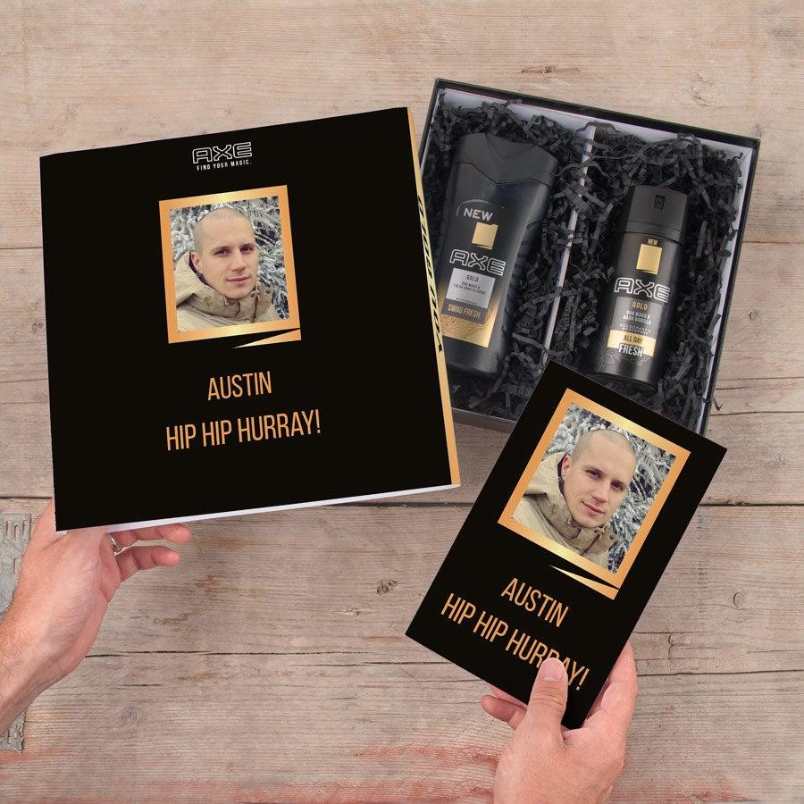 Ax lahjasetti - suihkugeeli ja deodorantti + bullet-lehti (kulta)