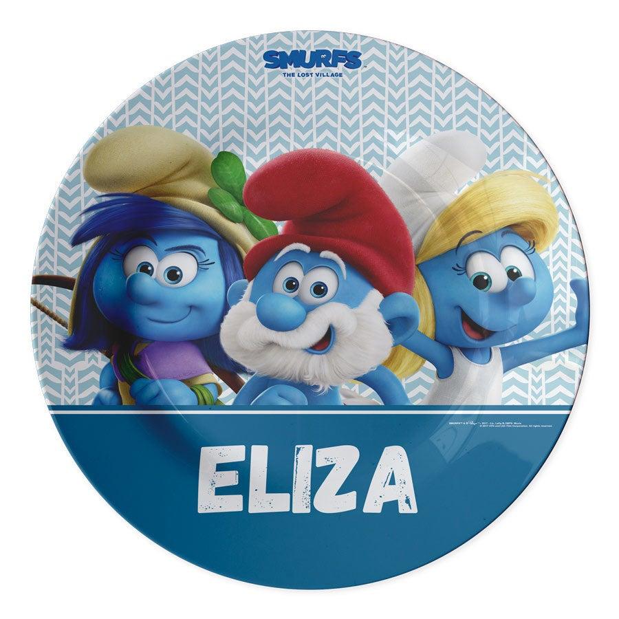 A placa dos Smurfs