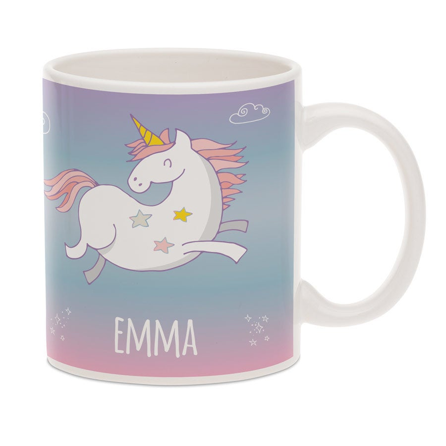 Unicorn mug with text - White