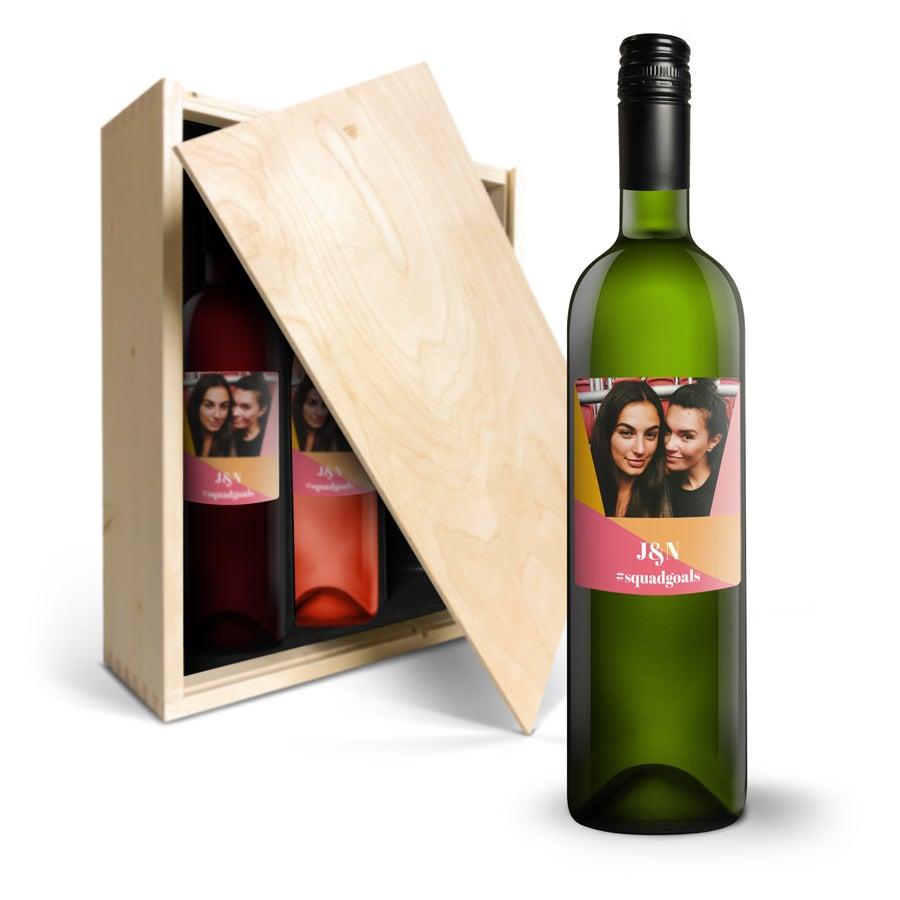 Coffret à vin Luc Pirlet Merlot, Sauvignon Blanc et Syrah - étiquette personnalisée