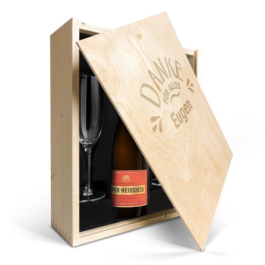 Champagnerpaket mit Gläsern - Piper Heidsieck Brut (750ml) - mit graviertem Deckel