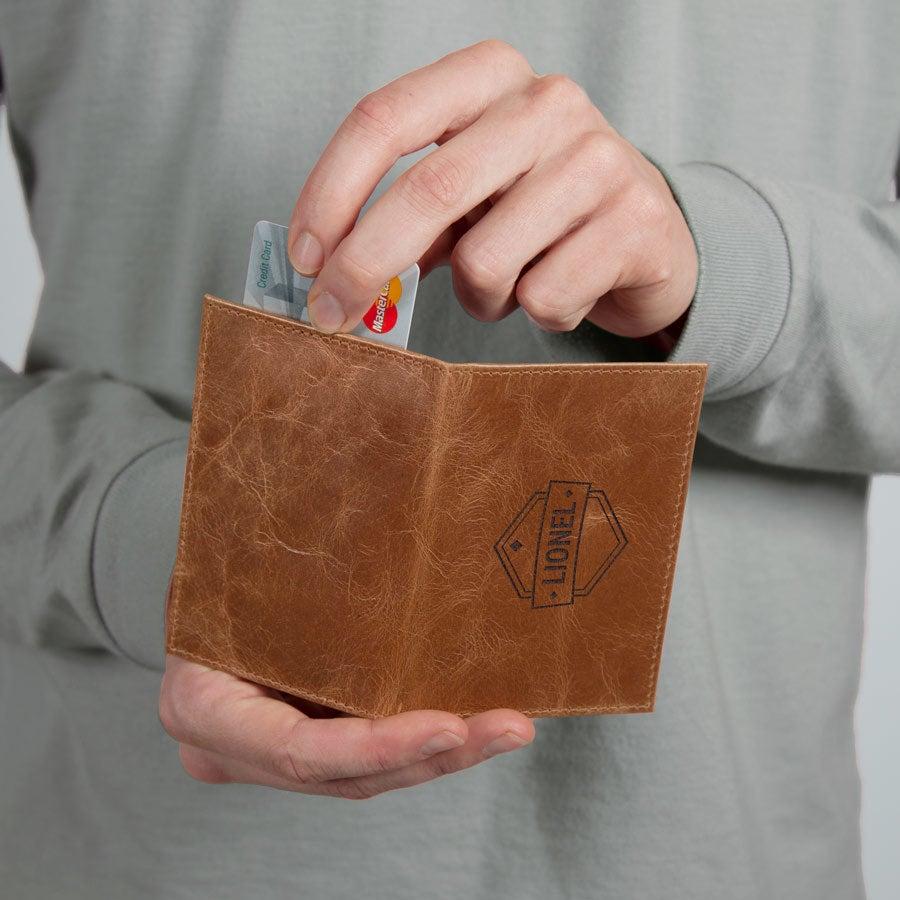 Porte carte cuir luxe - Marron