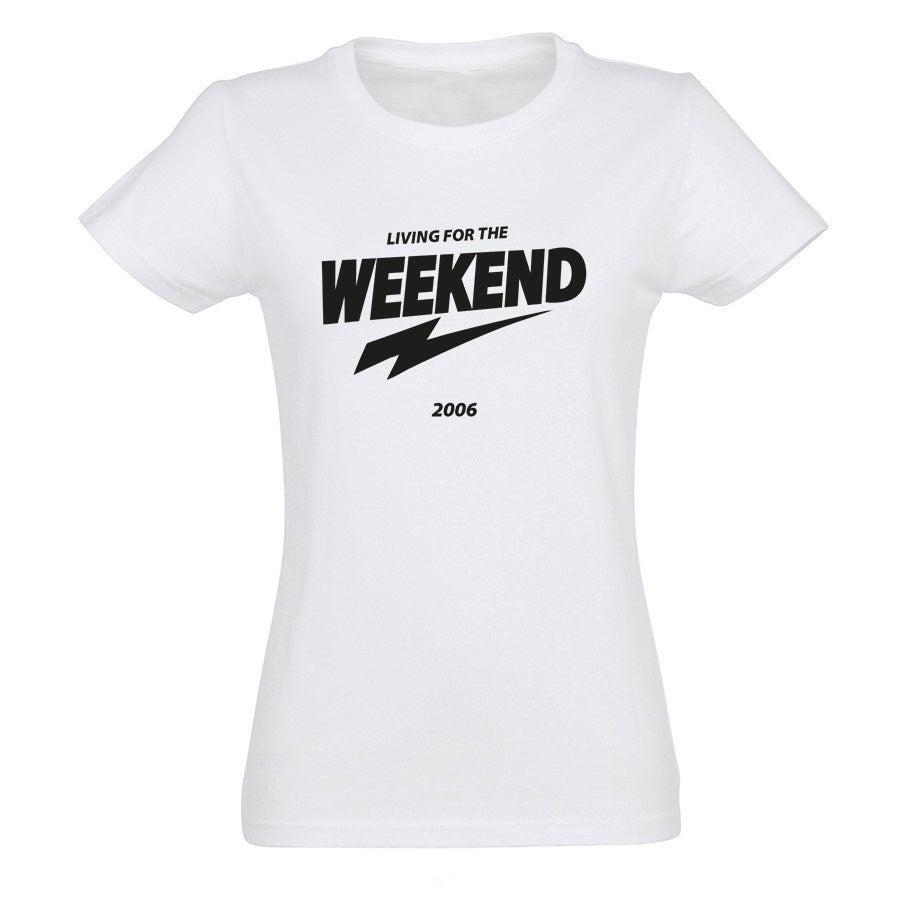 T-paita omalla painatuksella - Naiset - Valkoinen - M