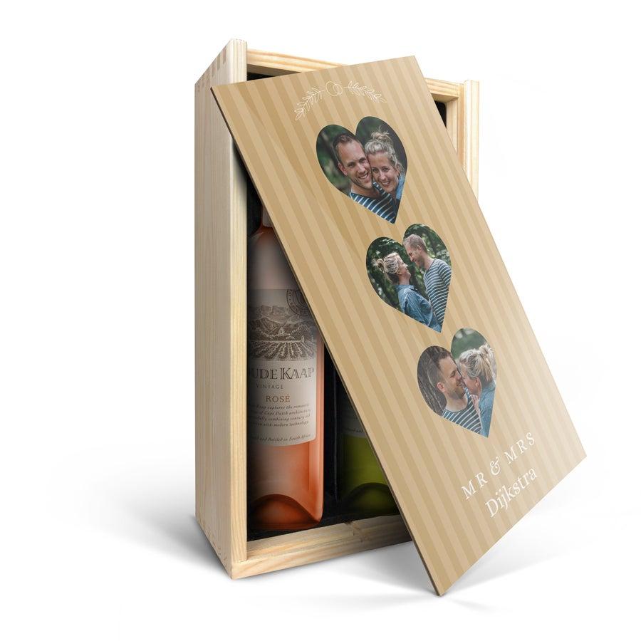 Wijnpakket in bedrukte kist - Oude Kaap - Wit en rosé