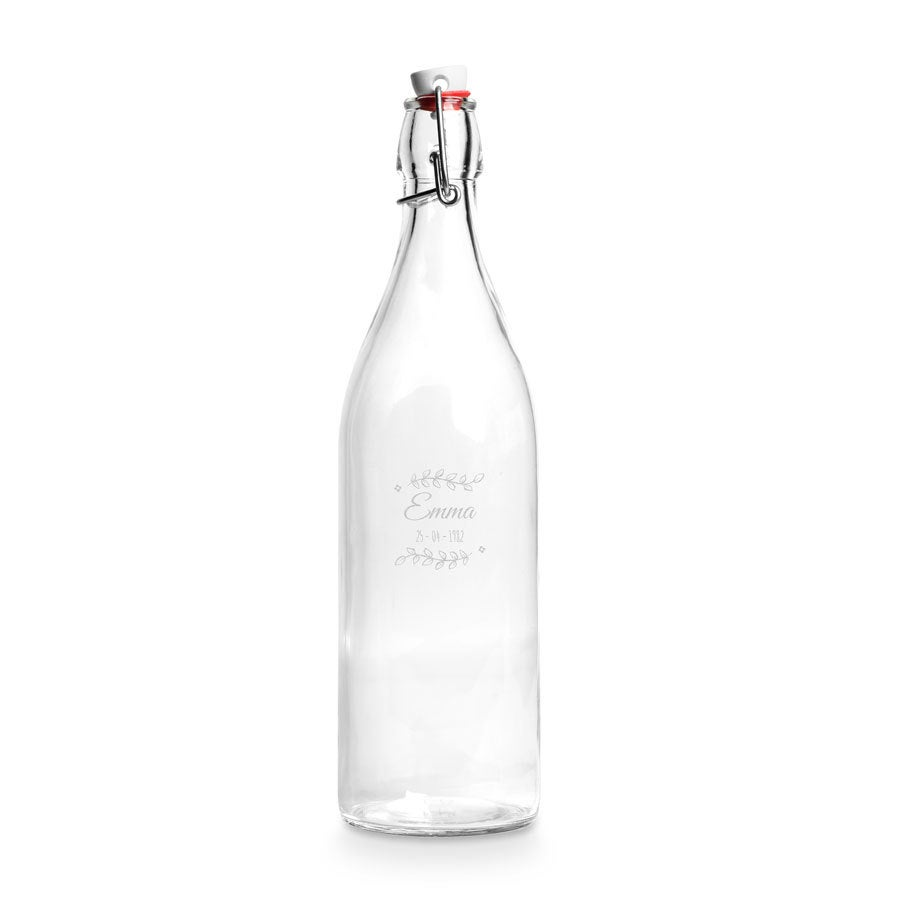 Glass fliptop water bottle