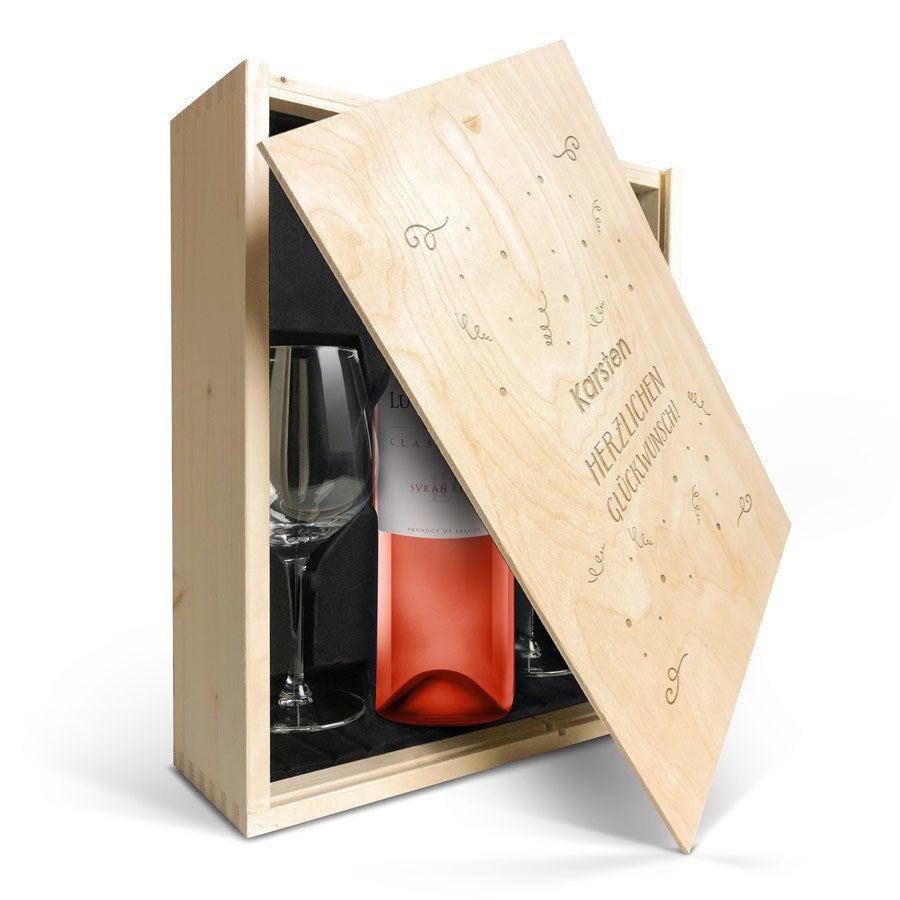 Geschenkset Wein mit Gläsern  - Luc Pirlet Syrah - Gravierter Deckel