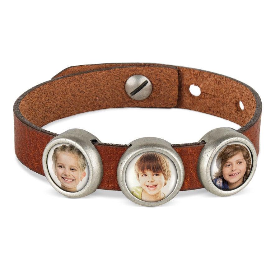 Bracelet personnalisé - marron - 3 charms
