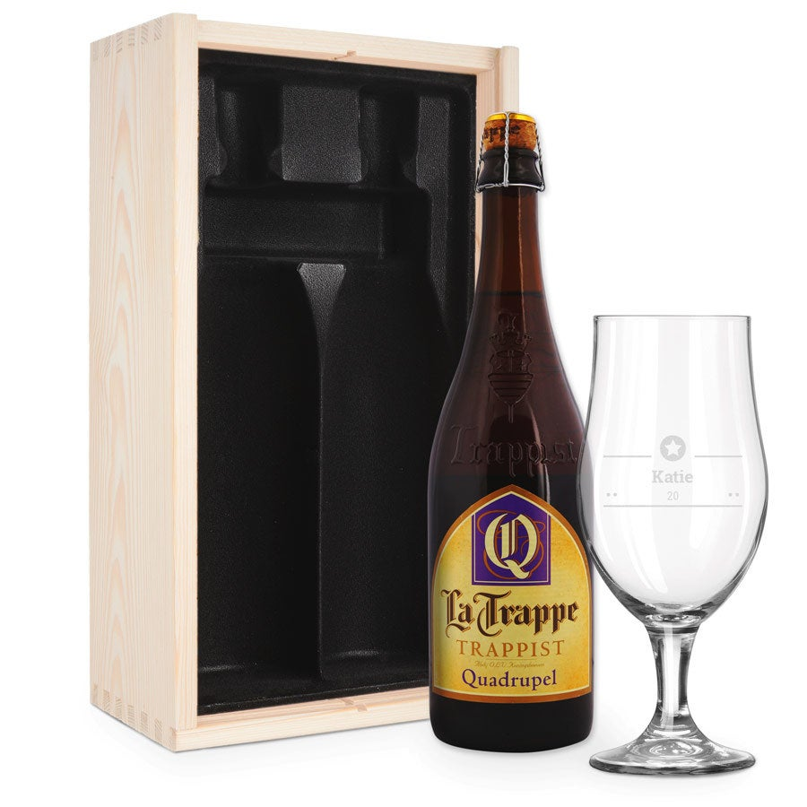 Ölgåva med glas - inristad - La Trappe Quadrupel