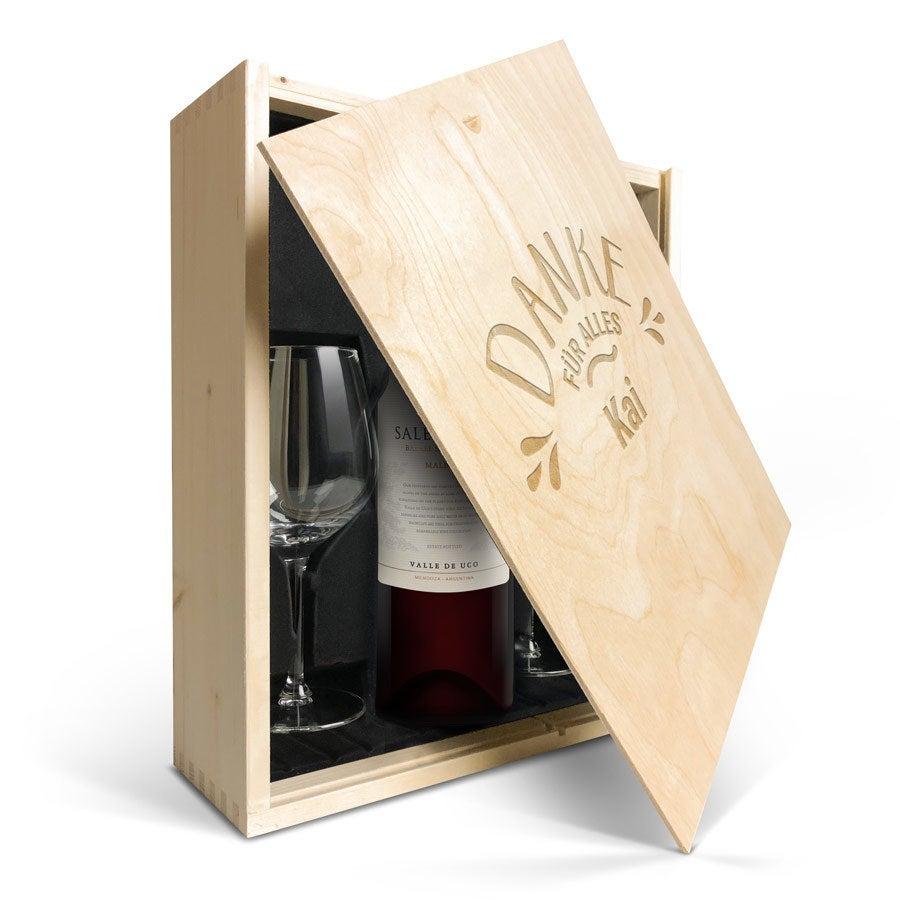 Geschenkset Wein mit Gläsern  - Salentein Malbec - Gravierter Deckel
