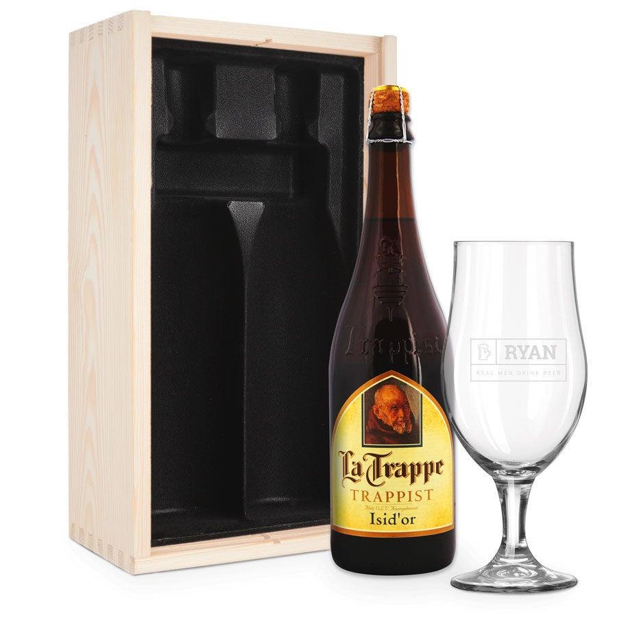 Zestaw upominkowy do piwa z wygrawerowanym szkłem - La Trappe Isid'or