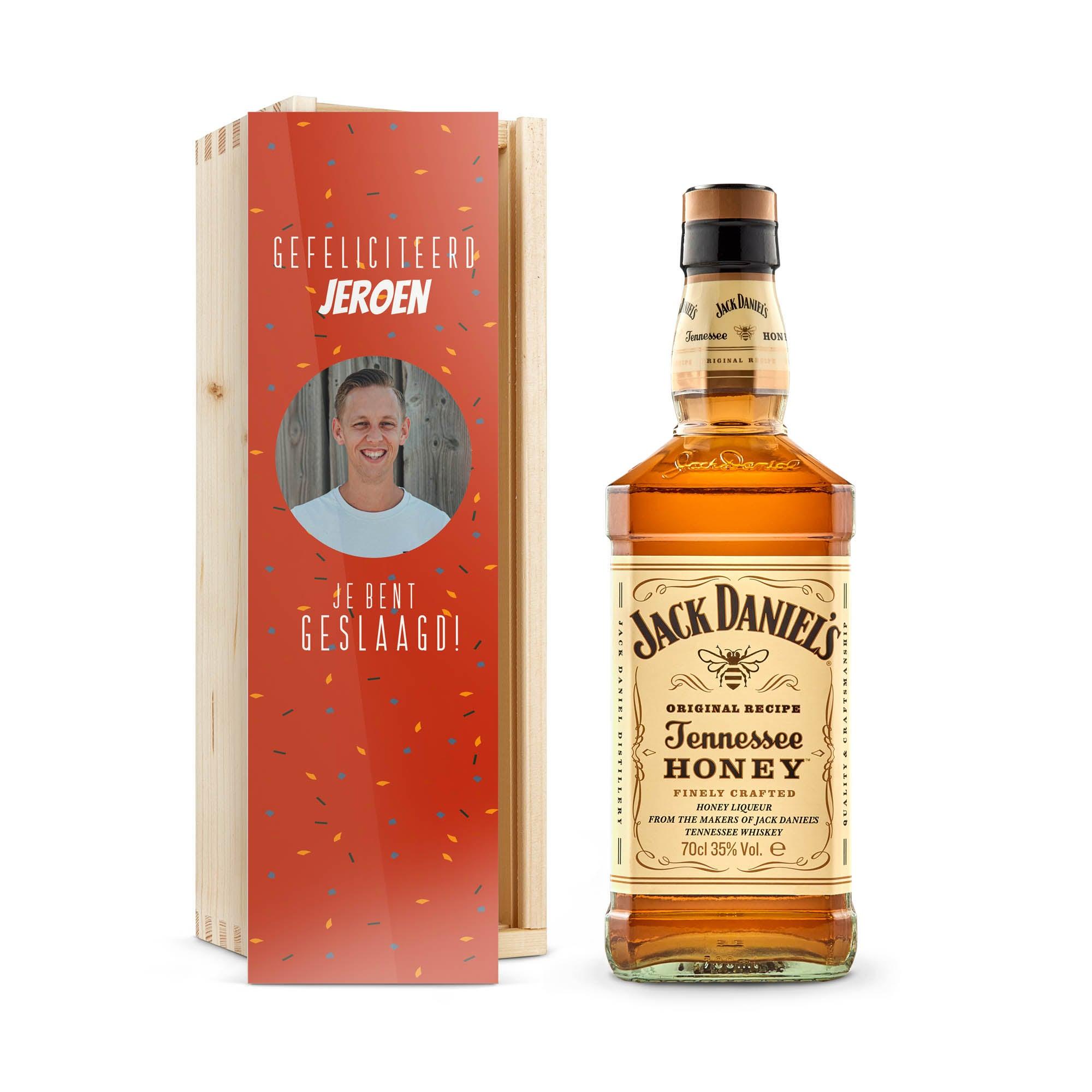 Whiskey in bedrukte kist - Jack Daniels Honey Bourbon