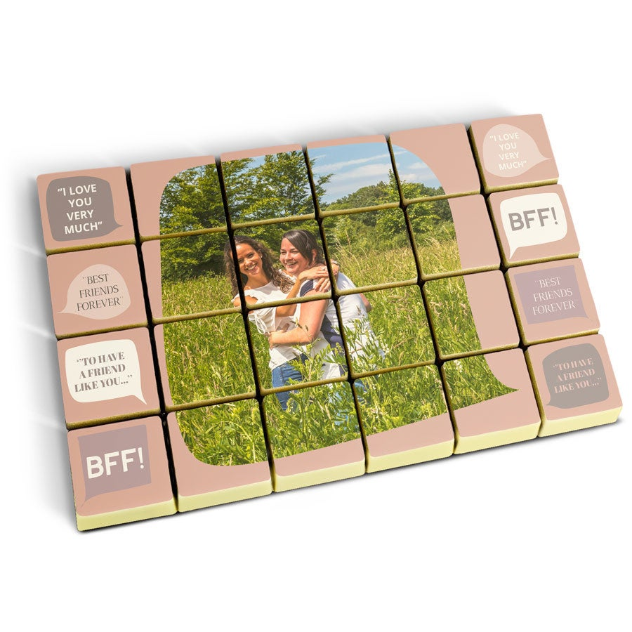 Foto op chocolade blokjes