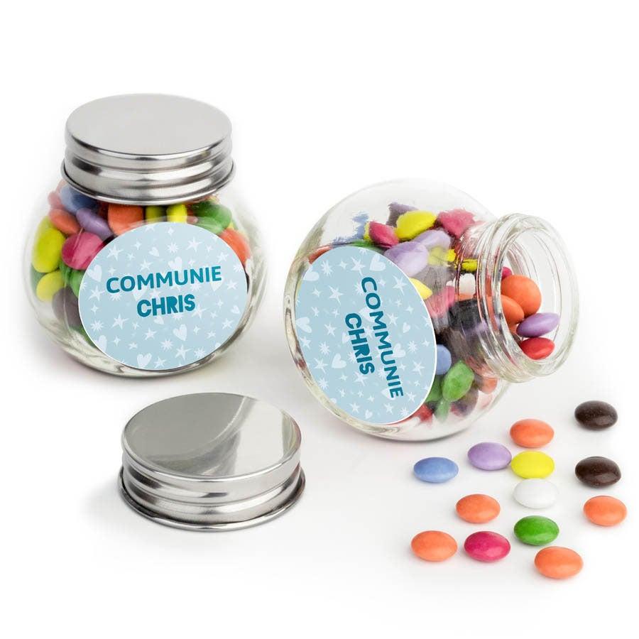Chocosnoepjes in bedrukt glazen potje - 10 stuks