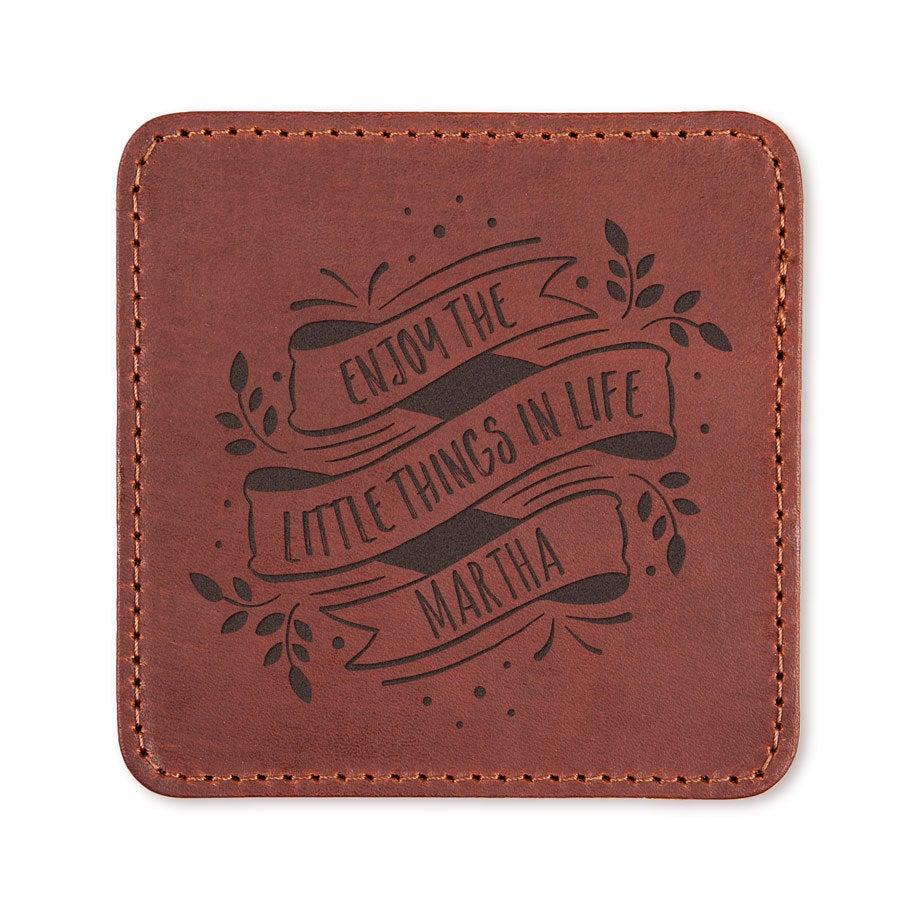 Porta-copos de couro personalizado - marrom - 2 peças