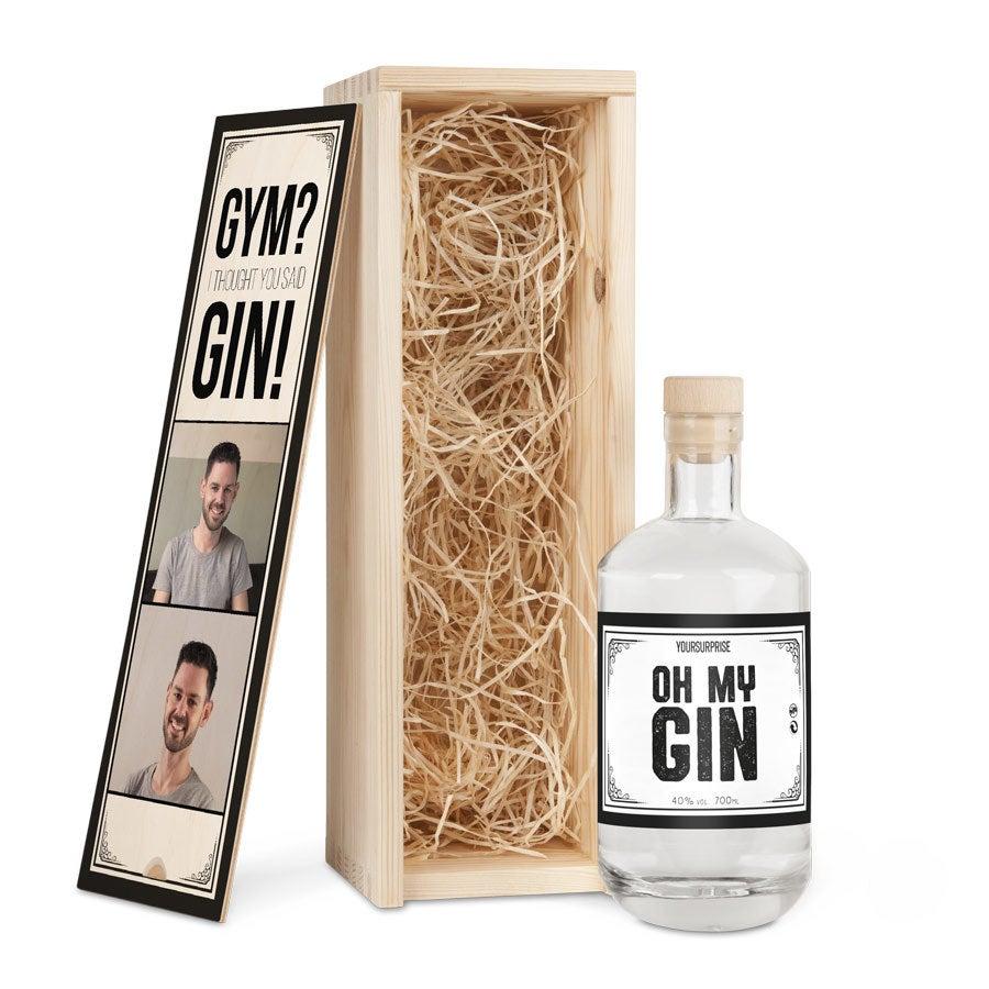 Gin in bedruckter Holzkiste - Yoursurprise Eigenmarke