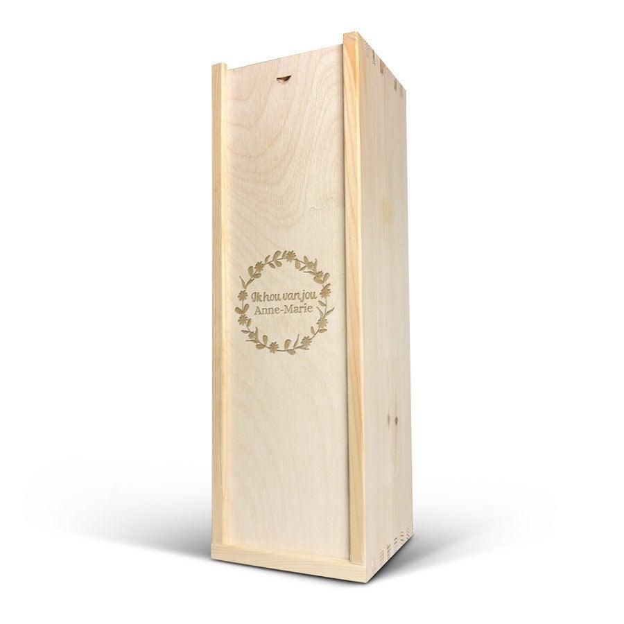 Luxe wijnkist graveren - 1 vaks - Hout