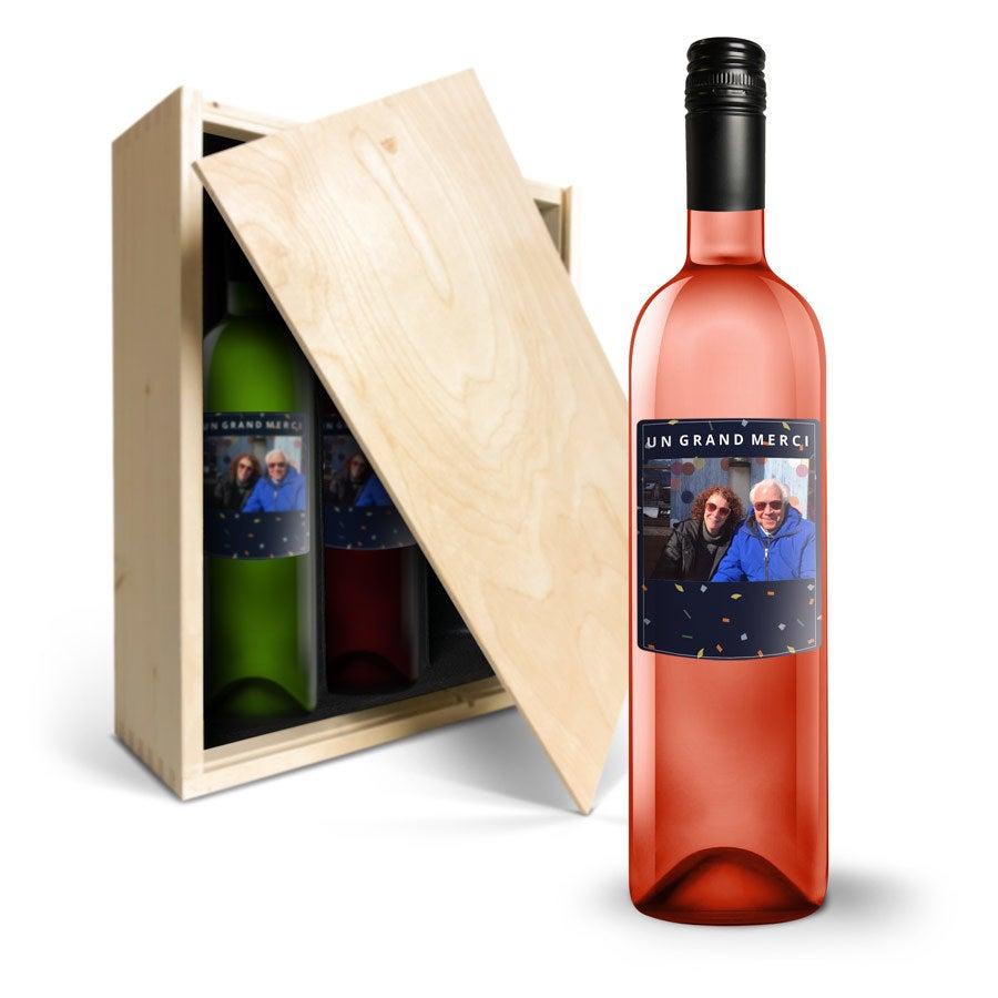 Coffret à vin Belvy rouge, rosé & blanc - Bouteille personnalisée