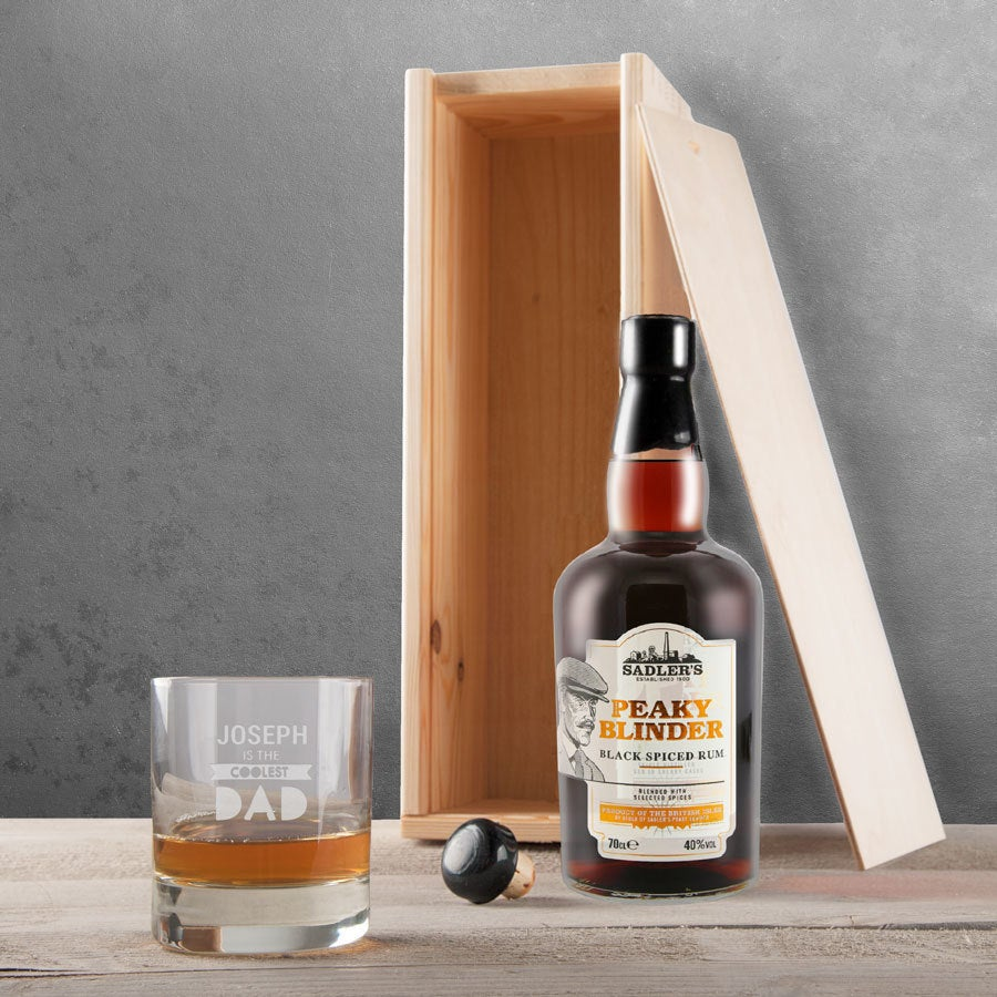 Peaky Blinders rum set with engraved glass