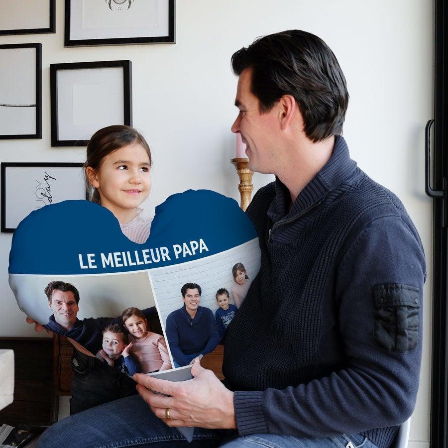Coussin Fête des pères recto verso personnalisé - 60 x 60 - Velours