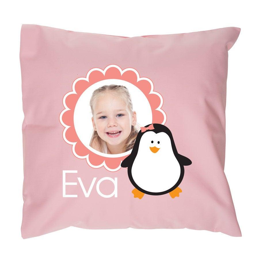 Pieni tyyny omalla kuvalla - täytteellä - vaaleanpunainen