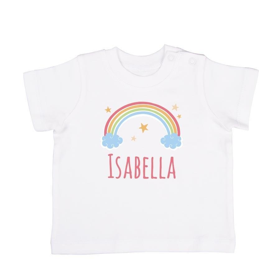 Babyskjorta med tryck - kort ärm - Vit - 50/56