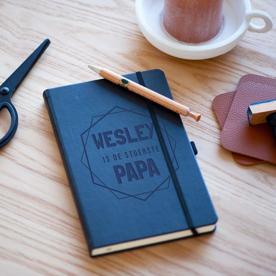 Vaderdag notitieboekje graveren - Blauw
