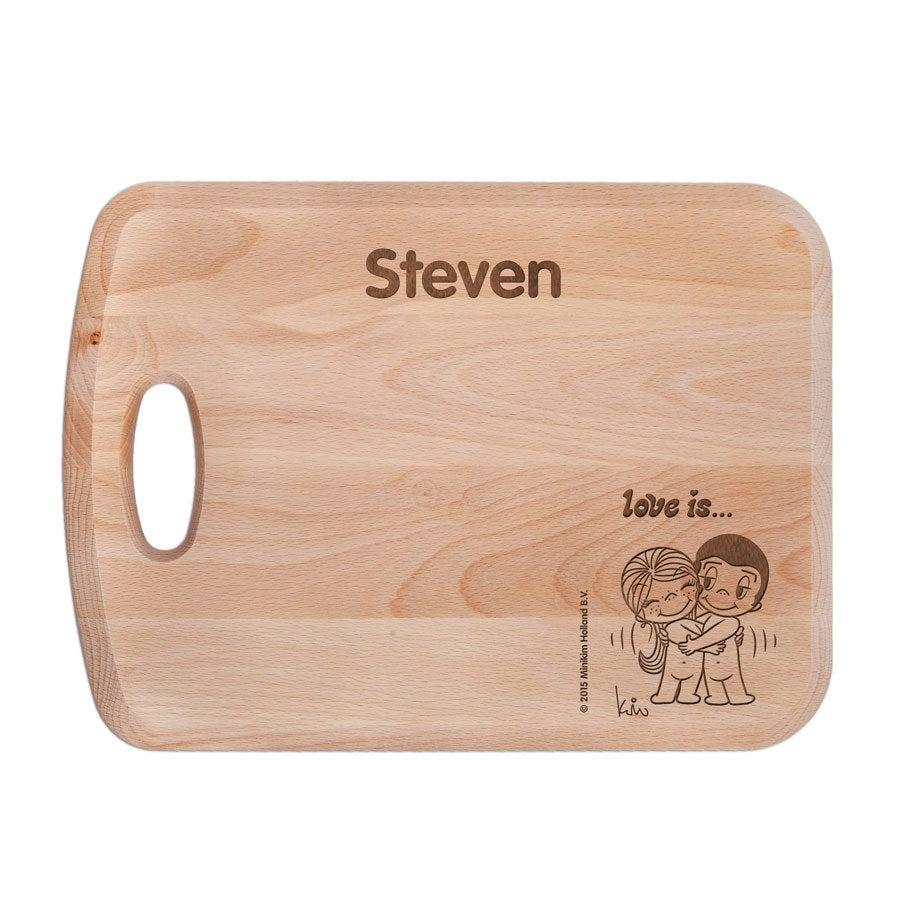 Miłość jest ... - Deska chlebowa przytula