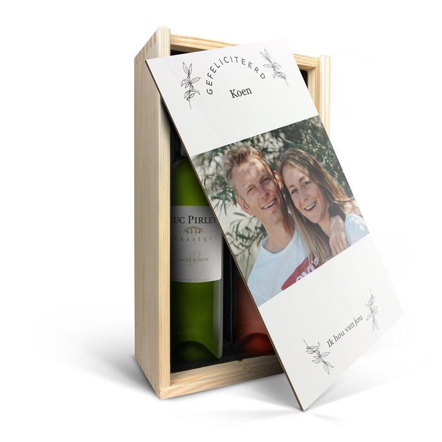 Wijnpakket in bedrukte kist - Luc Pirlet - Syrah en Sauvignon Blanc
