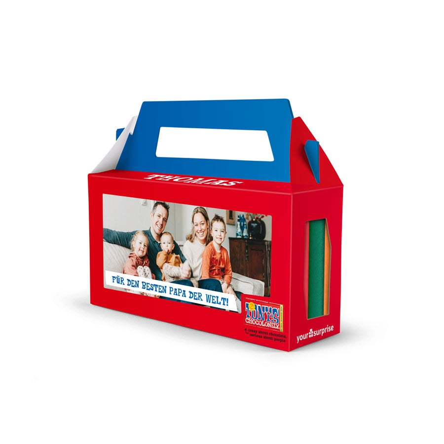 Personalisierte Geschenkbox mit 3 Tony's Chocolony Tafeln