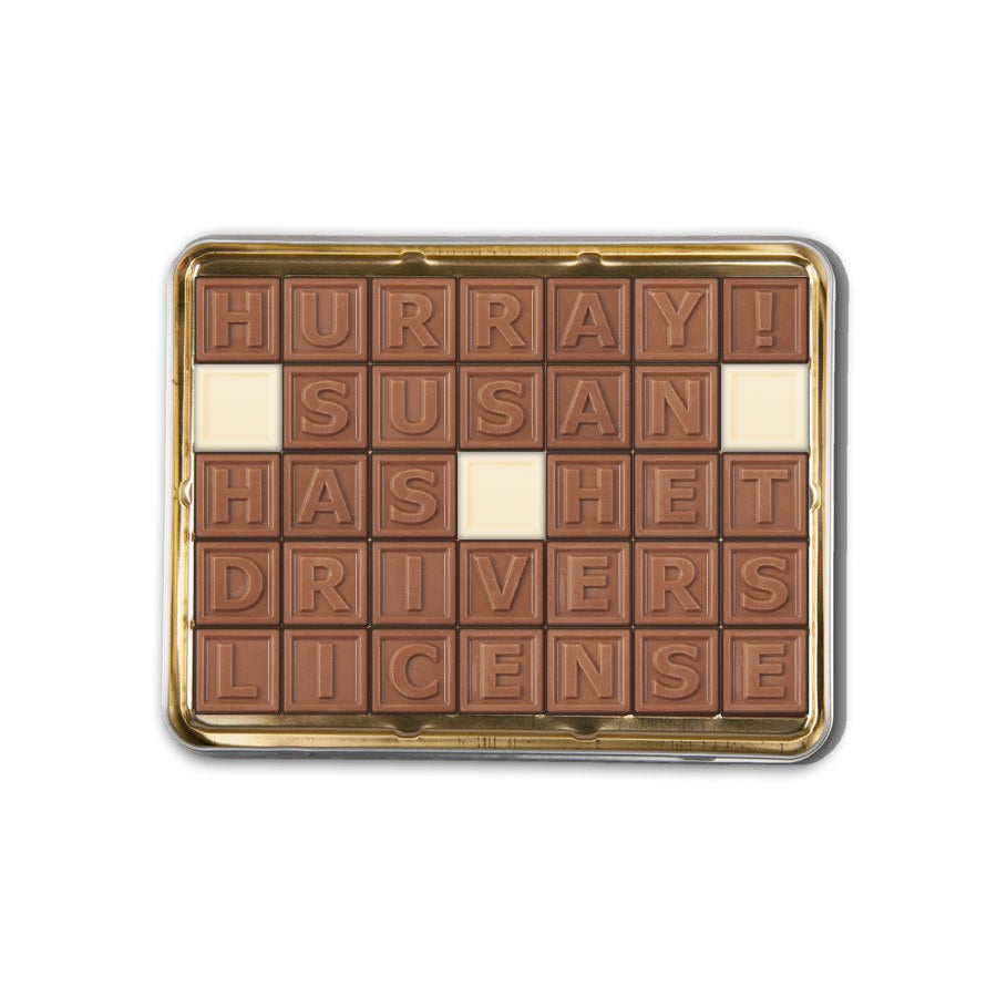 Choklad Meddelande - 35 Bokstäver