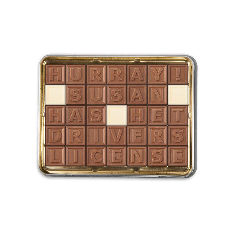 Telegrama de chocolate en hojalata - 35 caracteres