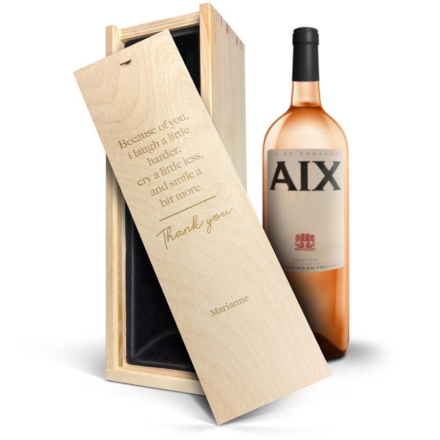 Wijn in gegraveerde kist - AIX rosé (Magnum)