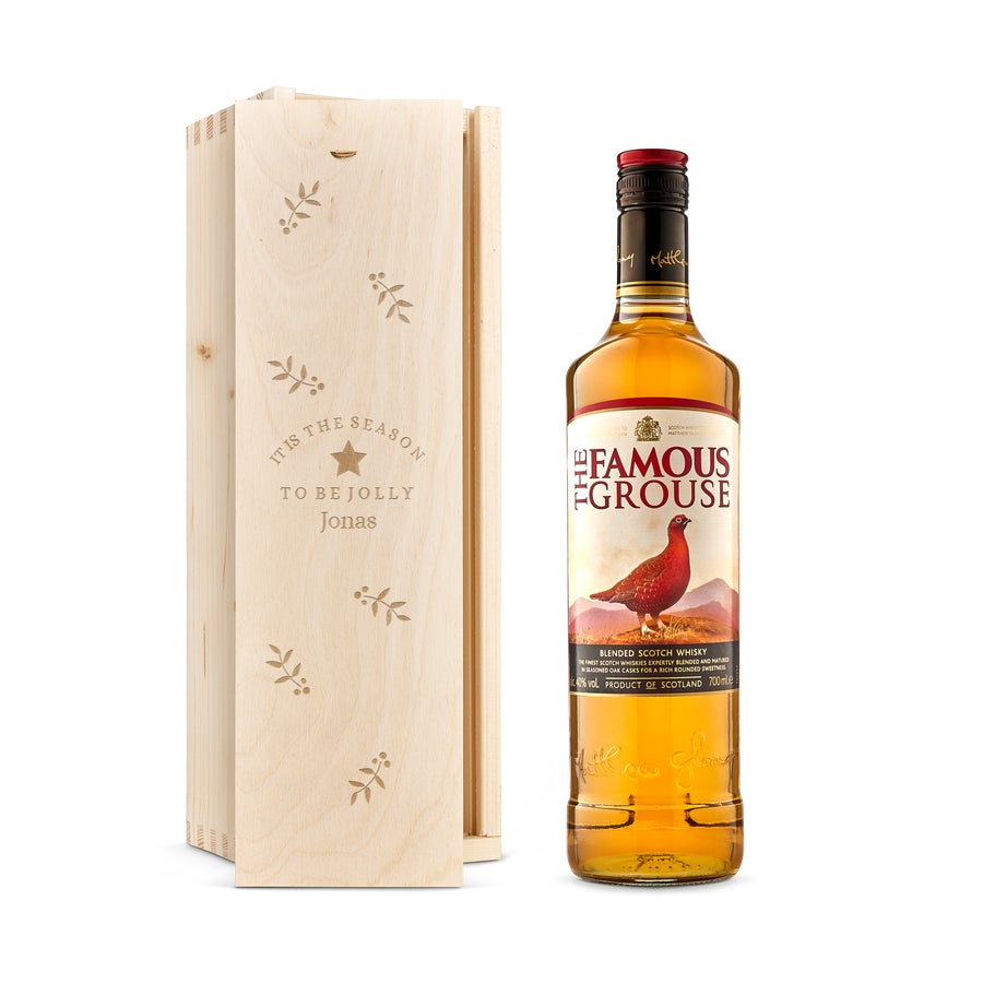 The Famous Grouse-whisky - Graverad träask